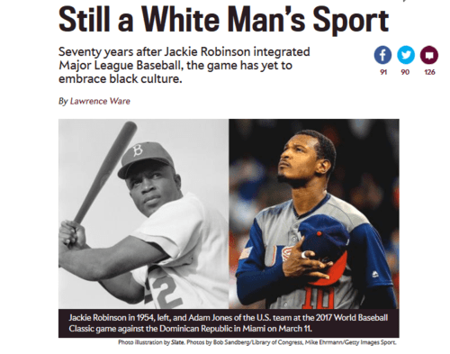 Seventy years after jackie robinson mlb is still a white man's sport.   2017 04 15 00.08.21