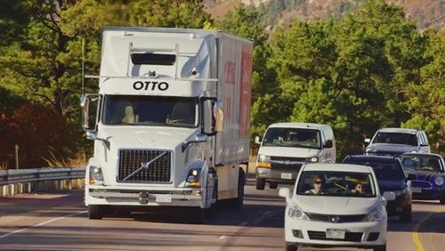 Otto self driving truck on road 620