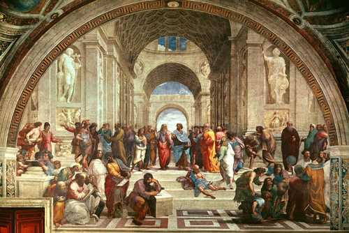 School of athens detail from right hand side showing diogenes on the steps and euclid 15111