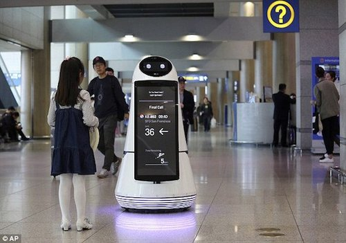 Koreanairportinformationrobotwithgirl