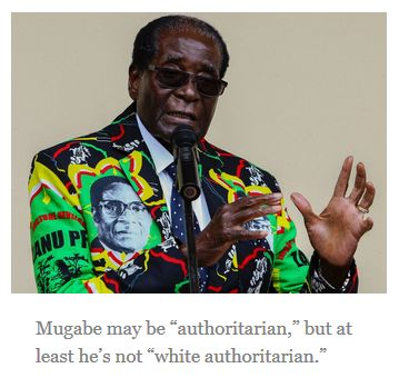 "Mugabe may be ""authoritarian,"" but at least he's not ""white authoritarian."""