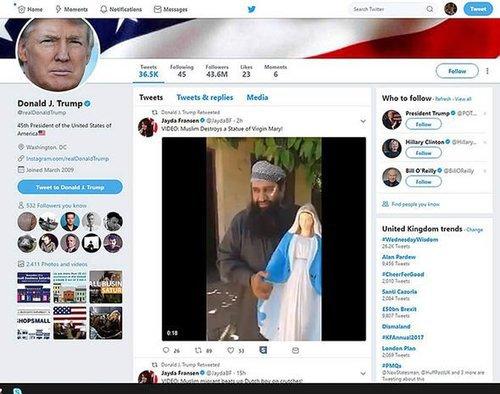 Britain first what is donald trump twitter anti muslim tweets jayda fransen 1145027